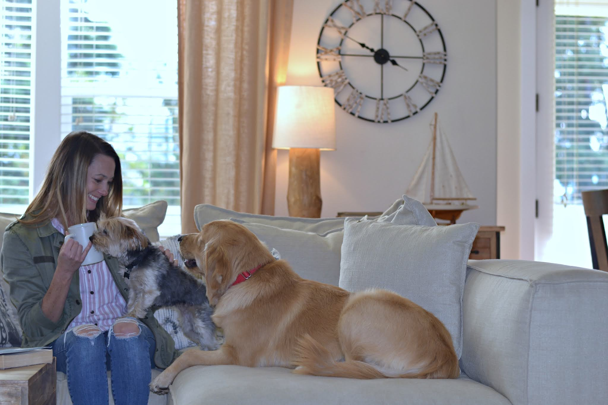 woman at home with dogs