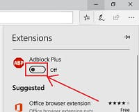 Turn of Extension of microsoft edge