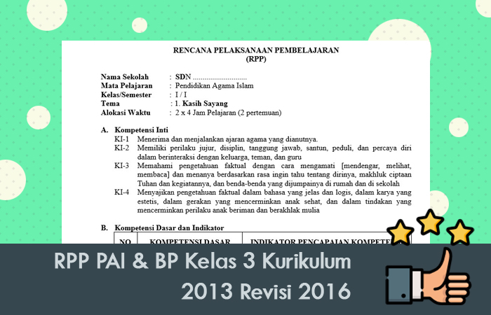 RPP PAI & BP Kelas 3 Kurikulum 2013 Revisi 2016