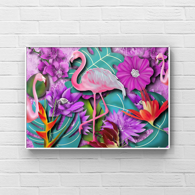 hot flamingo vibrant 80s inspired artwork by Mark Taylor