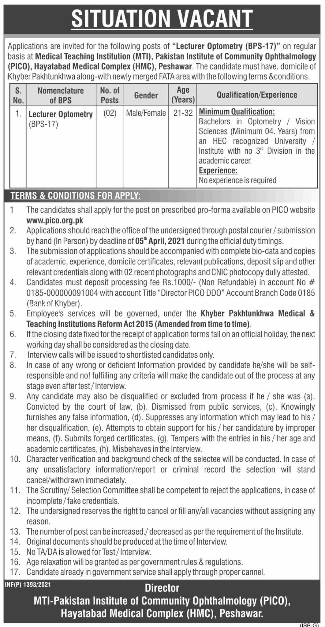 government,medical teaching institute mti peshawar,lecturer optometry,latest jobs,last date,requirements,application form,how to apply, jobs 2021,