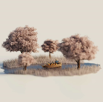 Voxel Cherry Blossom Trees