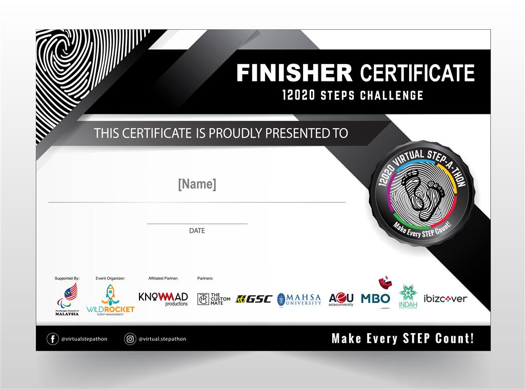 12020 Virtual Stepathon Challenge | Finisher Certificate