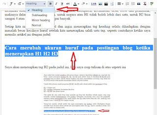 Cara merubah ukuran huruf pada postingan blog ketika menerapkan tag H1 H2 H3