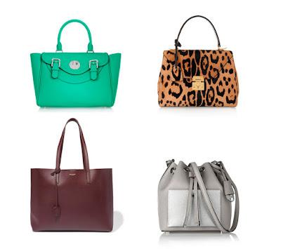 Зеленая, леопардовая, сливовая и серебристая сумки