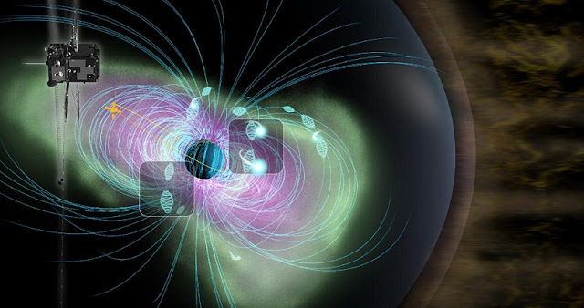 Conceptual illustration of wave-particle interaction occuring in the Earth's inner magnetosphere to be explored by the ERG satellite. Credit: JAXA ERG science team