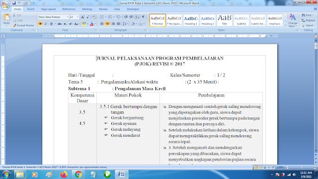 Contoh Format Jurnal Harian PJOK Kelas 1 SD Semester 2 k13 Revisi Terbaru