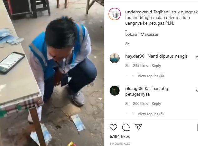 Viral wanita melempar uang saat ditagih bayar tagihan listrik petugas PLN. (Instagram/undercover.id)