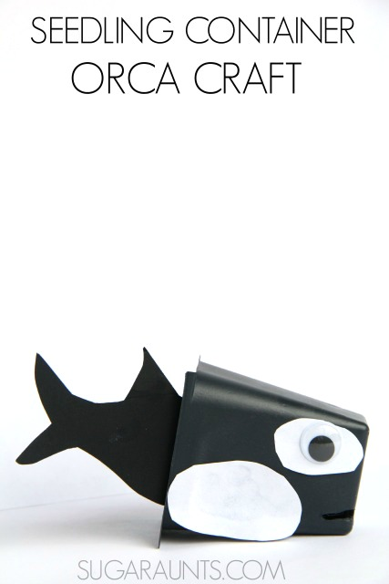 Orca (Killer Whale)  puppet craft made from recycled seedling containers!