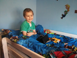Dan Jon in his cabin bed, back when he wanted it!