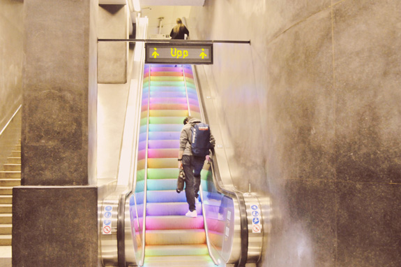 stockholm subway art tour rainbow escalators