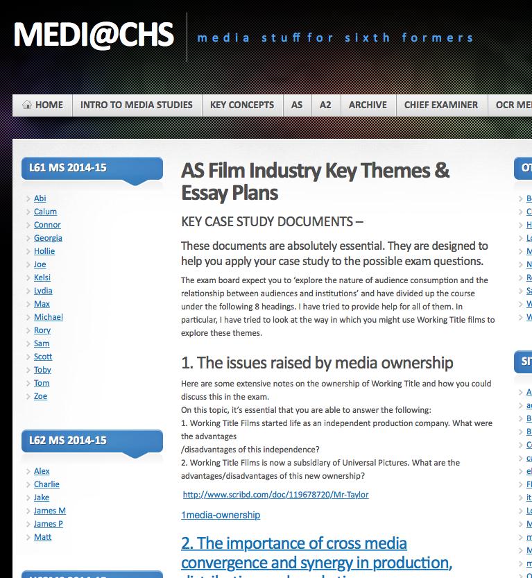 2015/16 AS Media Studies@ECS