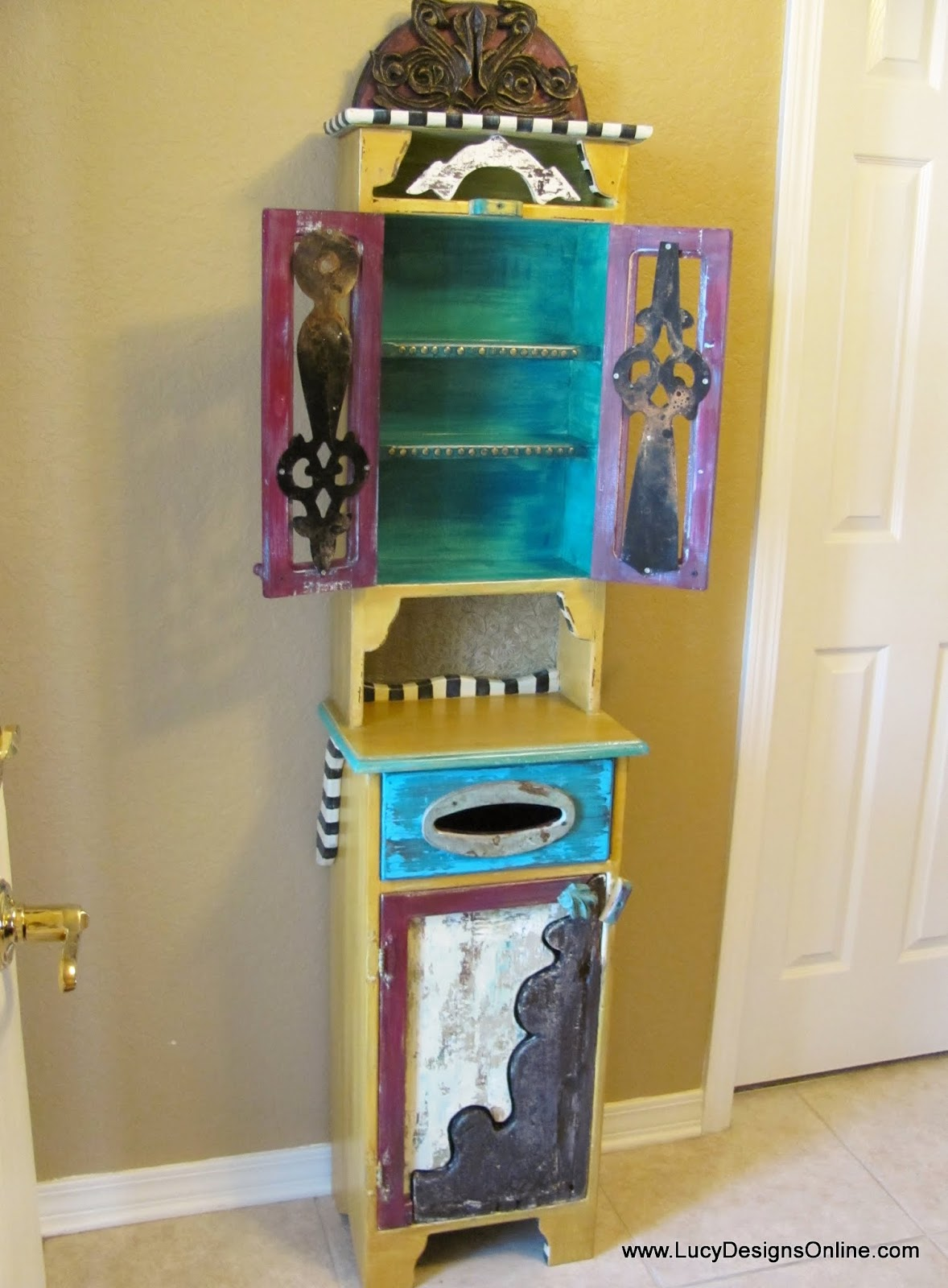 hand painted colorful cabinet makeover