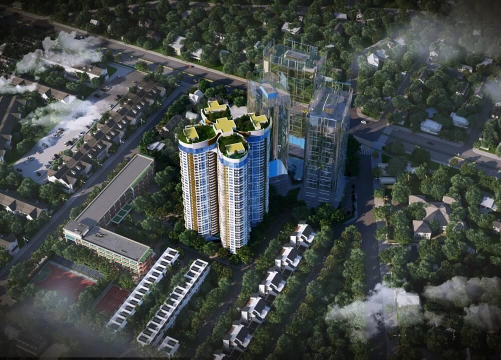 Tổng thể toà căn hộ cao cấp Sky View Giải Phóng
