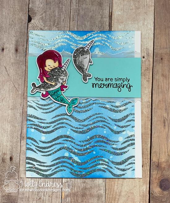 Newton's Nook Designs & WOW Embossing Powders Inspiration Week - Sparkly Mermaid card by Holly Endress | Narly Mermaids Stamp Set and Waves Stencil by Newton's Nook Designs with embossing powder by WOW! #newtonsnook #wowembossing