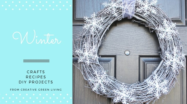 Winter crafts, recipes, DIY projects from Creative Green Living - wreath with snowflakes