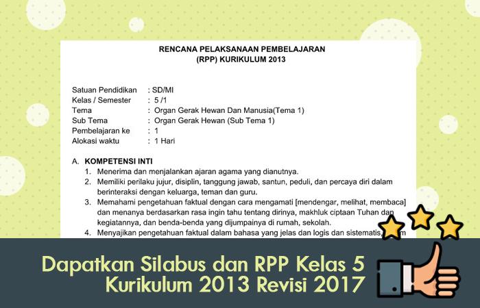 Dapatkan Silabus dan RPP Kelas 5 Kurikulum 2013 Revisi 2017