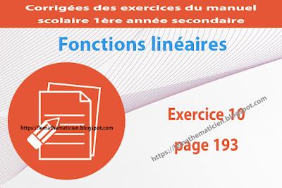 Exercice 10 page 193 - Fonctions linéaires