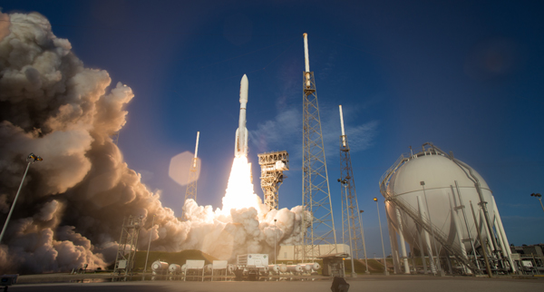 An Atlas V rocket carrying NASA's Mars 2020 spacecraft launches from Cape Canaveral Air Force Station in Florida...on July 30, 2020.