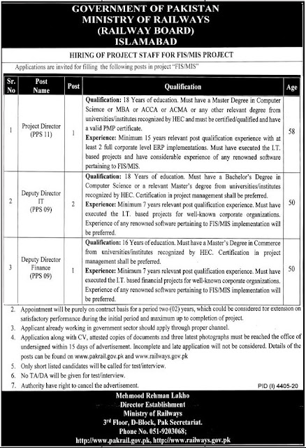 Ministry of Railways Jobs 2021 in Islamabad