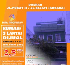 Rumah ruko Gandeng lebar 8 meter di jl.pukat II atau pukat 2 atau jl.sejati daerah Aksara <del>Rp 2,7 Miliar  </del> <price>Rp. 2,5 Miliar ( Nego)</price> <code>rumahrukodijlpukat2</code>