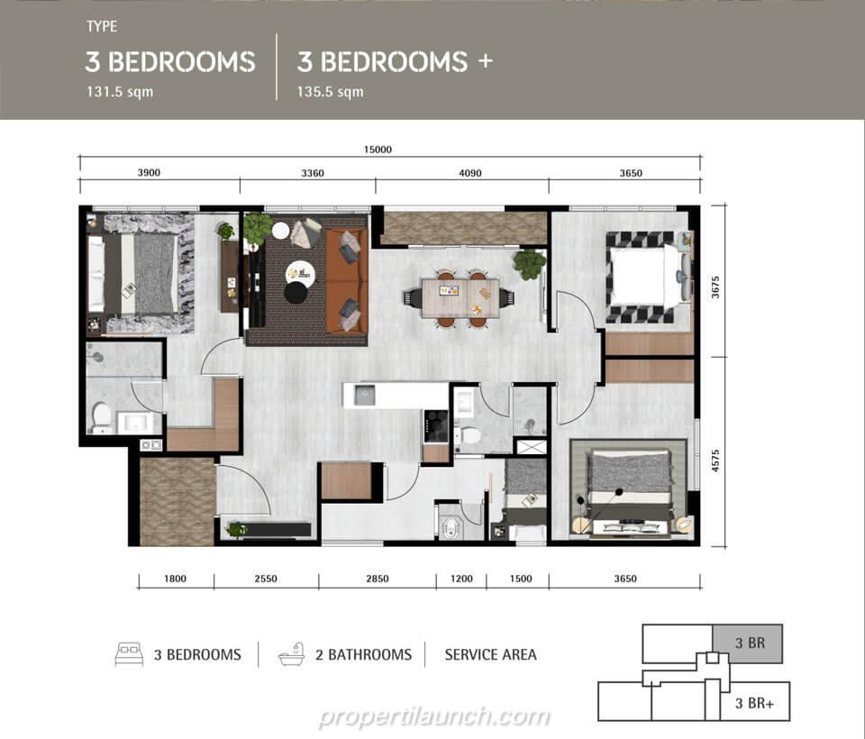 Denah Lantai Apartemen Lloyd Tipe 3 Bedroom