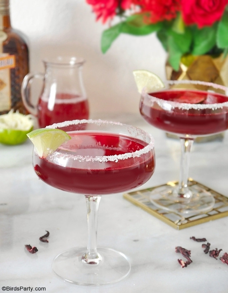 Hibiscus Margarita Cocktail Recipe - delicious, quick and pretty easy to make drink to celebrate Valentine's Day or to serve at a Galentine's Day party! by BirdsParty.com @birdsparty #valentinesday #galentinesday #cocktail #hibiscus #margarita #margaritacocktail #margaritarecipe #hibiscusmargarita #valentinesdaycocktail #cocktailrecipe