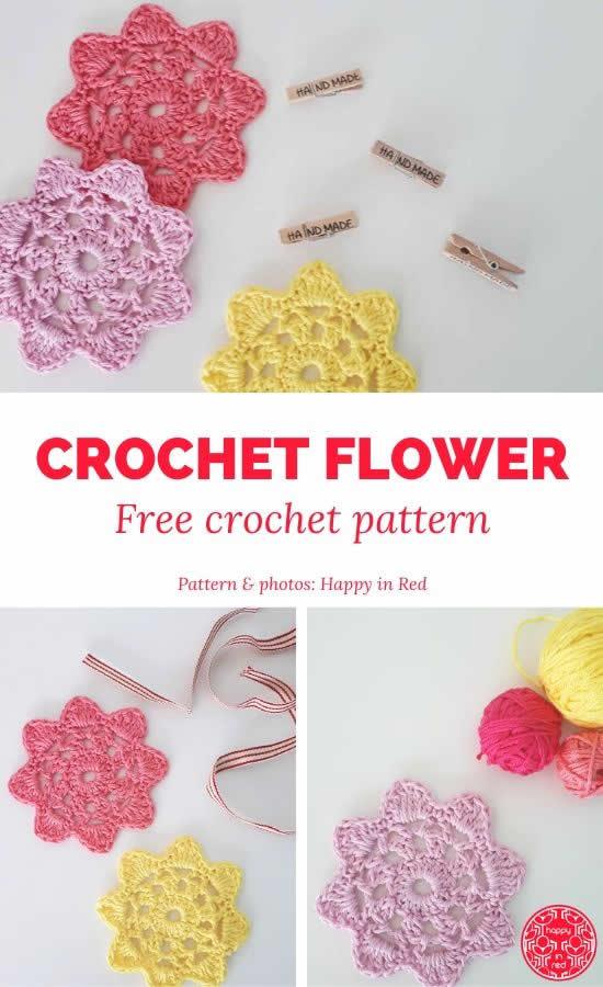 Crochet flower pattern free | Happy in Red