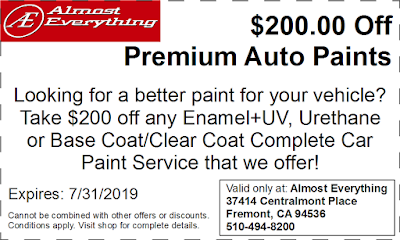 Discount Coupon $200 Off Premium Auto Paint Sale July 2019