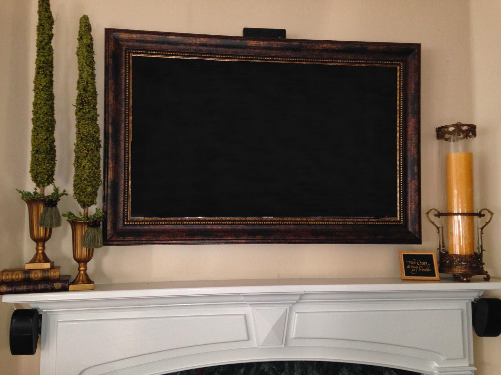 Labels Flat Screen Tv Frame Framed Over Fireplace