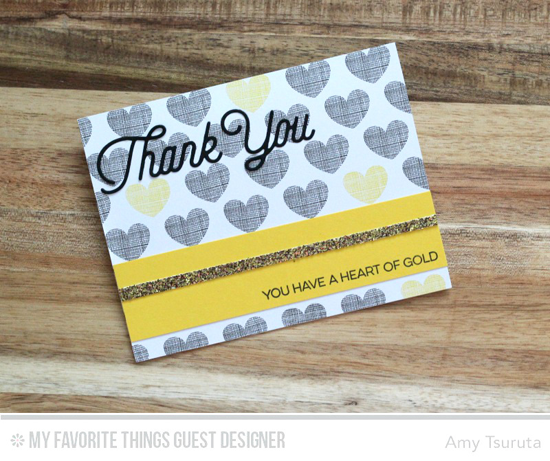 Heart of Gold Card by Amy Tsuruta featuring the Kinds Thanks stamp set and Twice the Thanks Die-namics #mftstamps