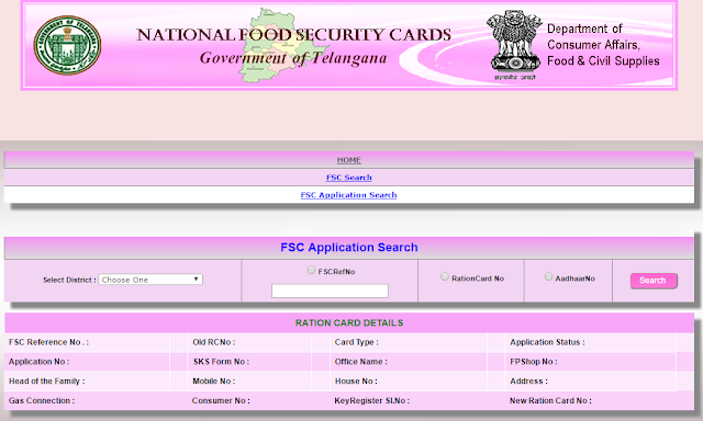 Search Ration Card in Telangana