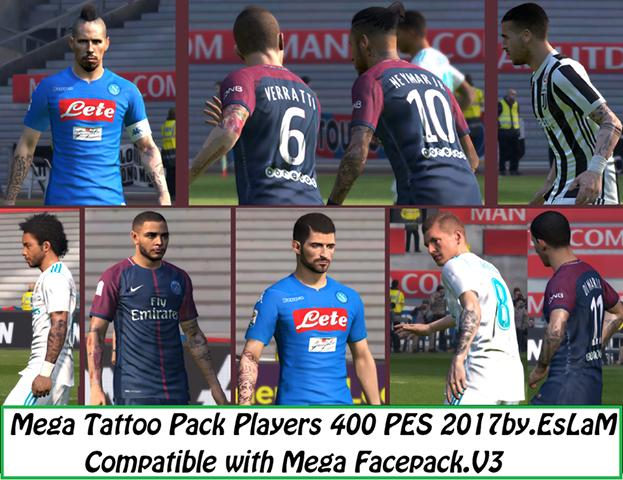 PES 2017 Mega Tattoo Pack 400 Players