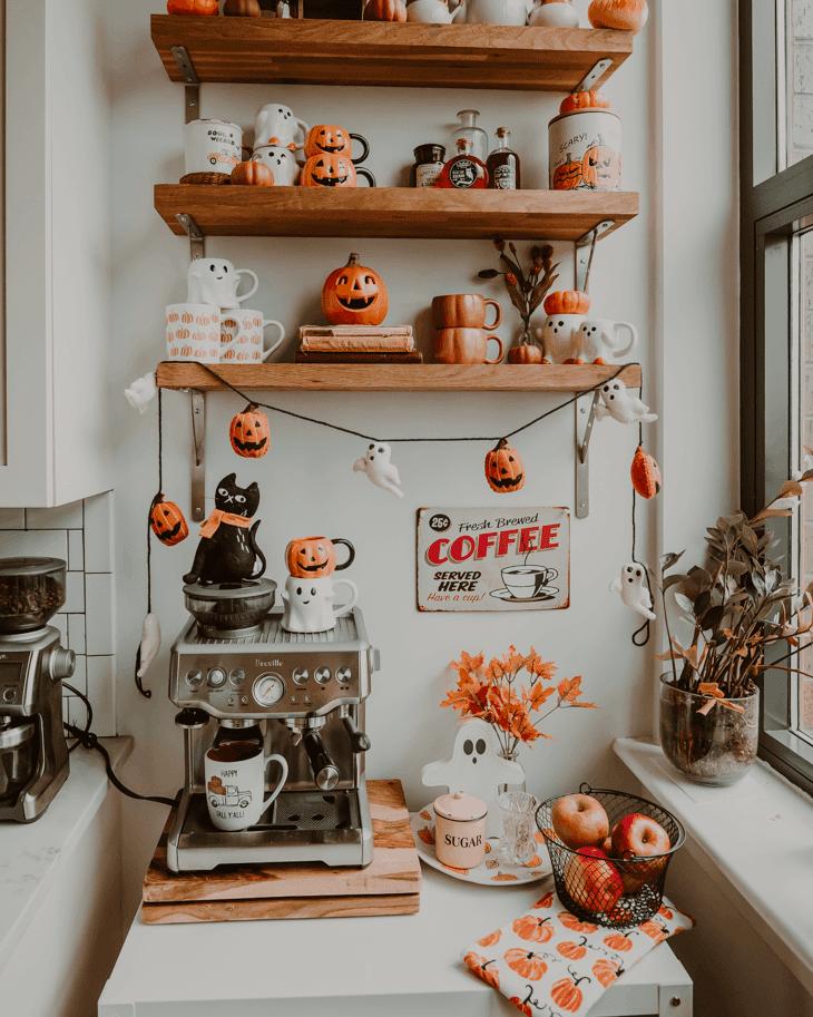 Halloween coffee station — Fall coffee bar — fall coffee station — Halloween coffee bar — fall coffee bar ideas