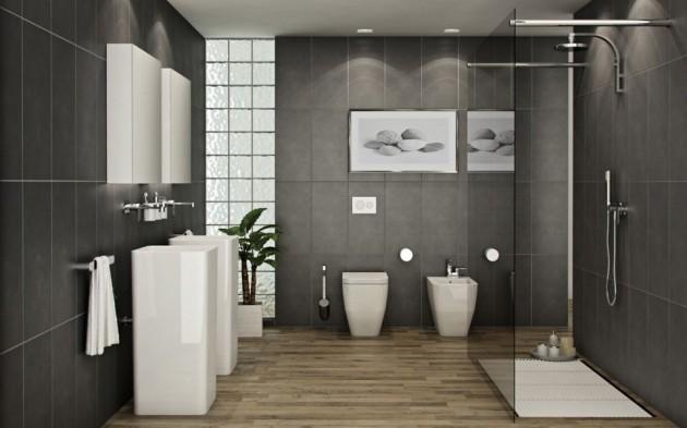 Grey And Chocolate Brown Bathroom