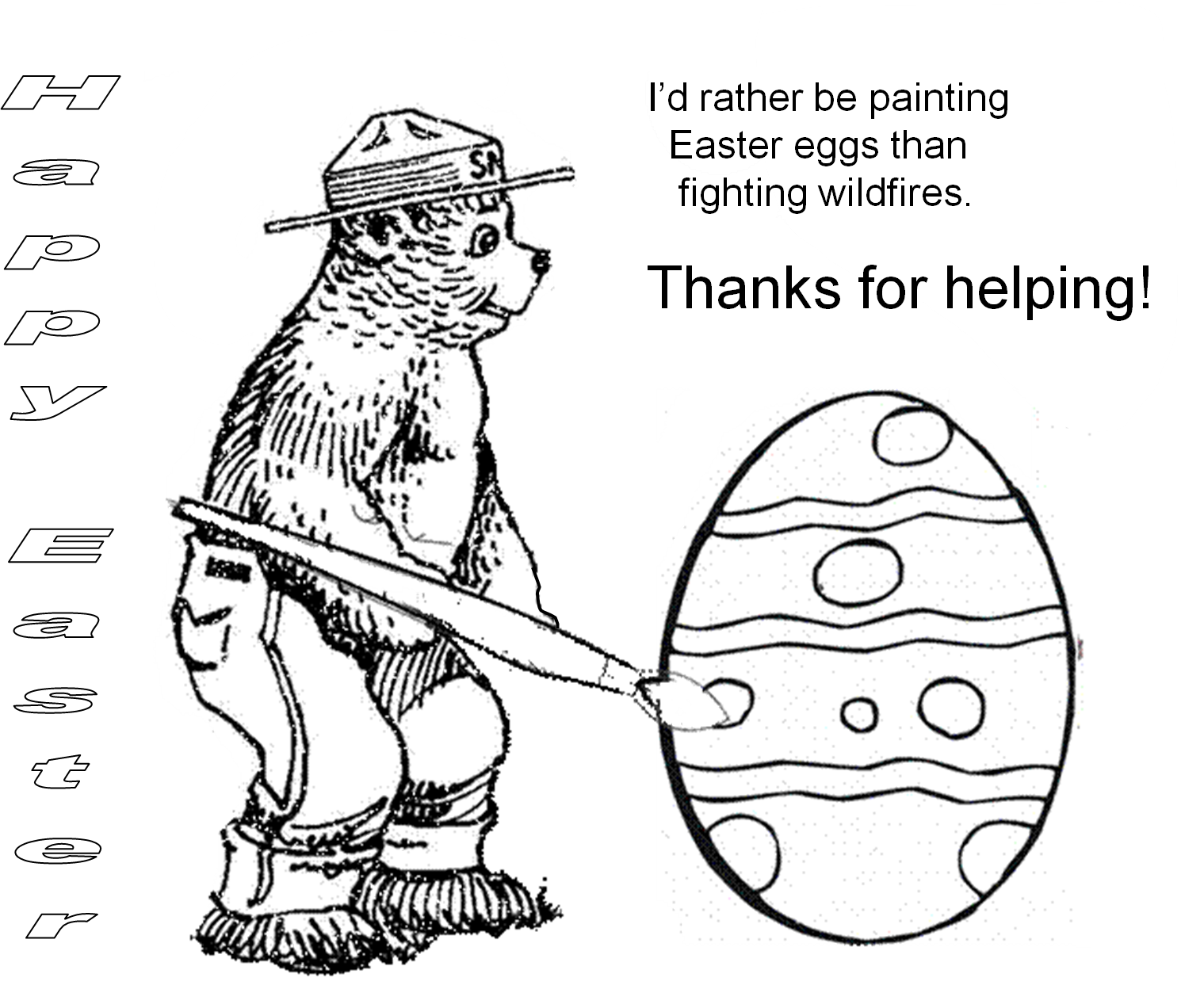 Virginia wildfire information and prevention easter with for Smokey the bear coloring pages