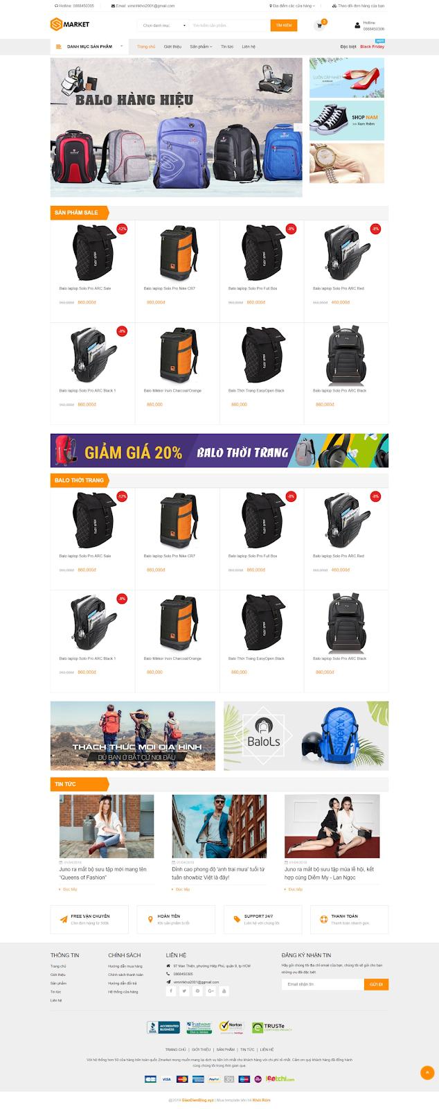 Zmarket Bags Responsive Blogger Template là giao diện bán hàng blogspot cao cấp không khác gì một theme wordpress, nó chứa đầy đủ các chức năng hỗ trợ bán hàng.