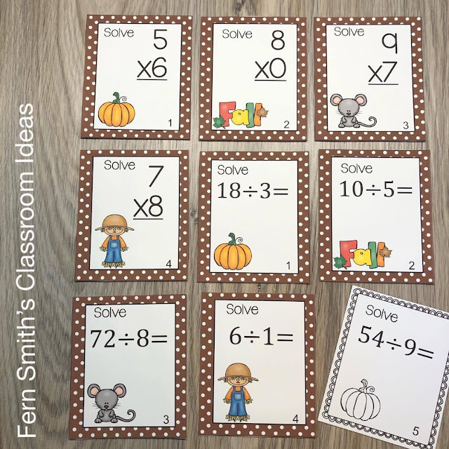 Fall Multipliction and Division Task Cards