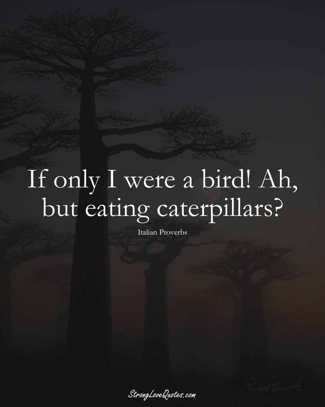 If only I were a bird! Ah, but eating caterpillars? (Italian Sayings);  #EuropeanSayings