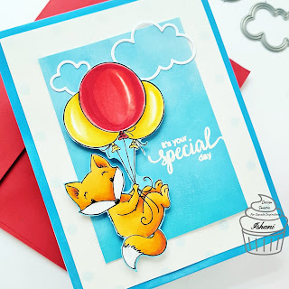 Fox Balloon card, Laurie Furnel ink digital stamp, Copic coloring Fox, Balloon card, quilllish