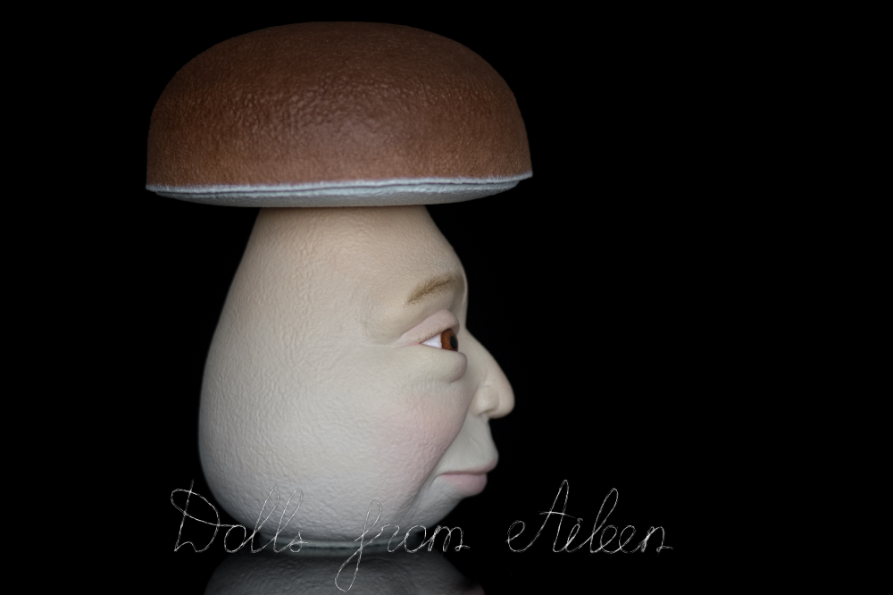 OOAK clay enchanted mushroom sculpture, profile view
