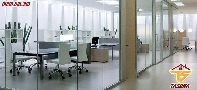 Vách ngăn kính cường lực cho phòng làm việc