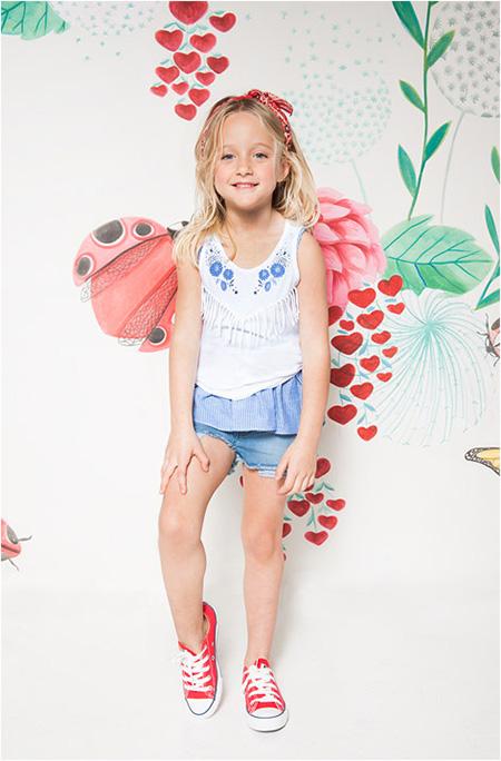 Remeras y shorts verano 2018 moda niñas Kosiuko colección primavera verano 2018.