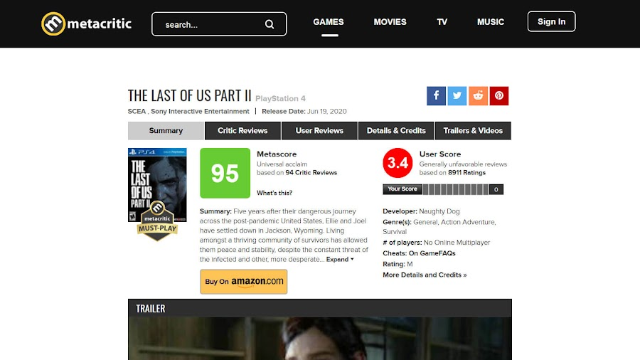 the last of us part 2 metacritic score user reviews ps4 exclusive action adventure survival horror naughty dog sony entertainment interactive tlou 2