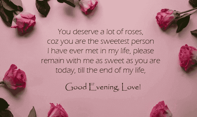 good evening love message for my love