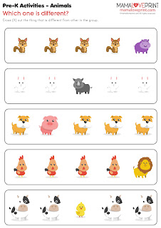 Mama Love Print 自製工作紙 - 學前幼兒工作紙 [動物篇] Pre School Worksheets Animals Theme Printable Freebies Kindergarten Activities Daily Matching Find Difference Trace Exercise