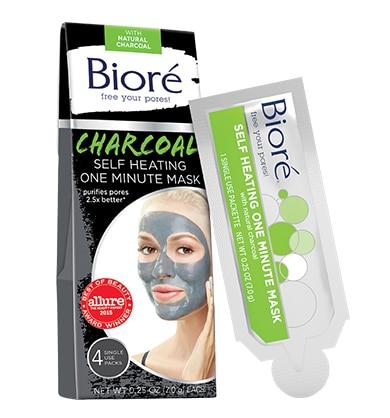 Biore Charcoal Self Heating One Minute Mask Masker Untuk Menghilangkan Komedo