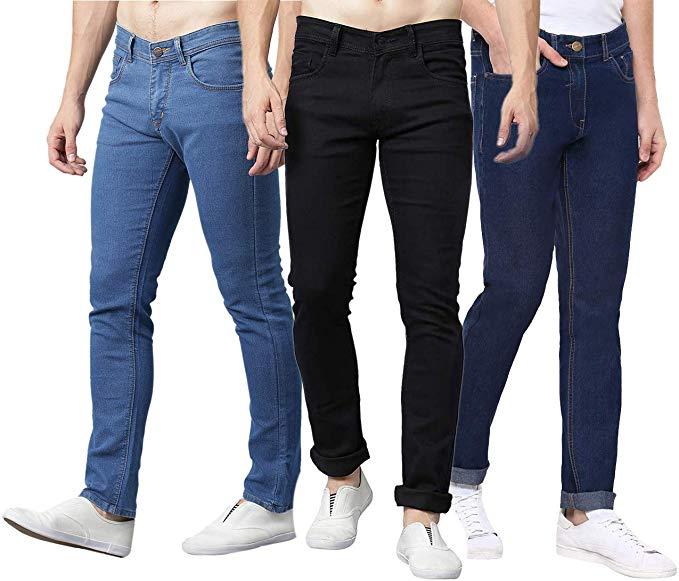 Stanburt Men Combo 3 Slim Fit Stretchable Mid Rise Jeans-Dark Blue/Black/Light Blue