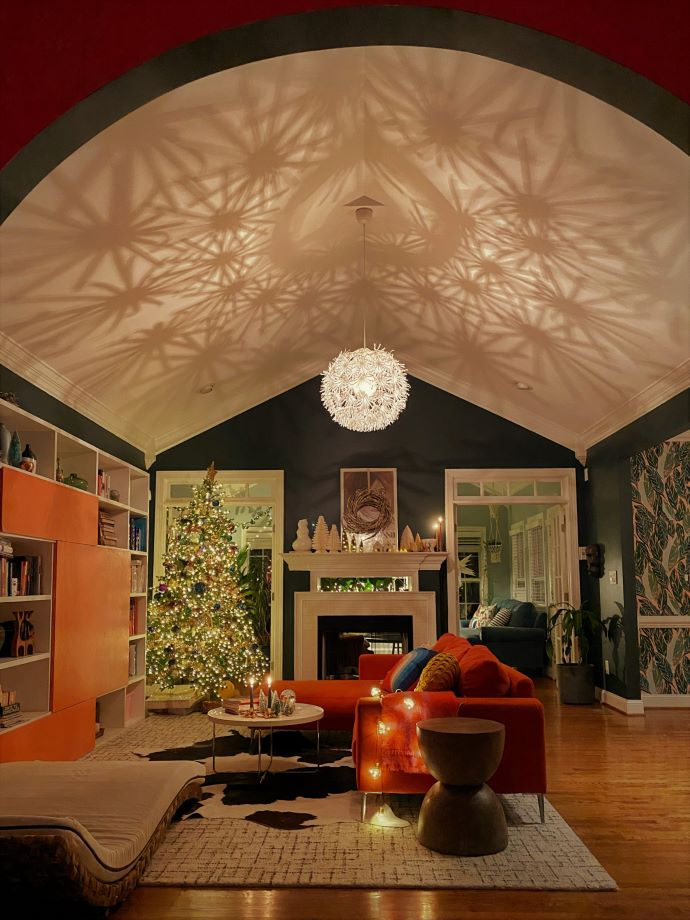 Living room aglow at night