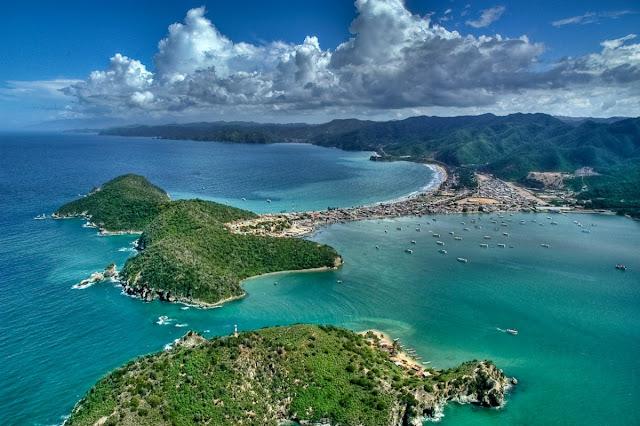 île Margarita des Caraibes vue aérienne
